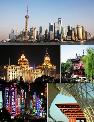 Shanghai montage by ASDFGHJ (talk), pontmarcheur - All CC/PD sources:File:2012 Pudong.jpgFile:Bund at night.jpgFile:Yu Garden 2.jpgFile:NanjingRoad1.jpgFile:Expo Axis & China Pavilion.jpg. Licensed under Creative Commons Attribution-Share Alike 3.0 via Wikimedia Commons - http://commons.wikimedia.org/wiki/File:Shanghai_montage.png#mediaviewer/File:Shanghai_montage.png